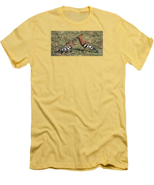 Men's T-Shirt (Slim Fit) featuring the photograph African Hoopoe Feeding Young by Liz Leyden
