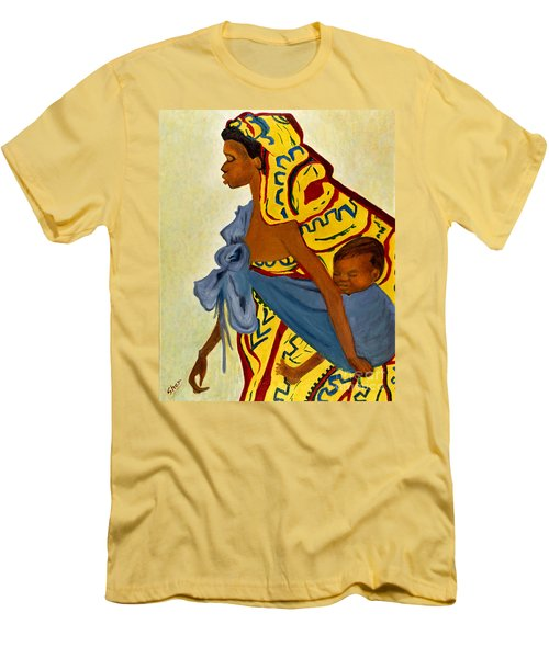 Men's T-Shirt (Slim Fit) featuring the painting African Mother And Child by Sher Nasser