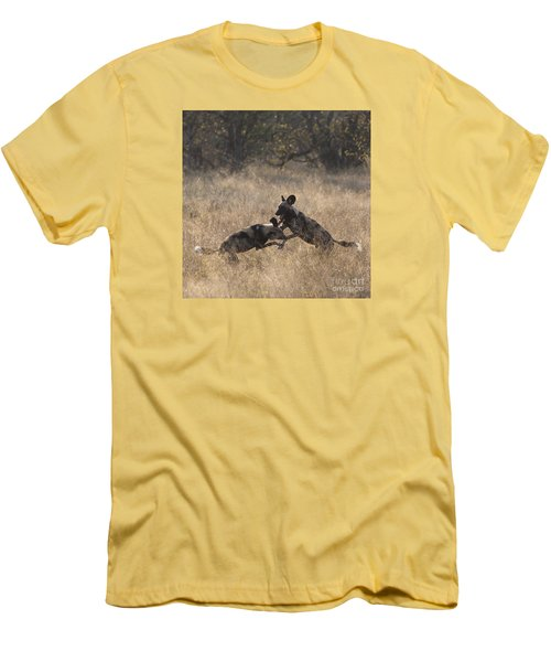 Men's T-Shirt (Slim Fit) featuring the photograph African Wild Dogs Play-fighting by Liz Leyden