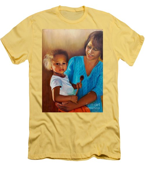 Men's T-Shirt (Athletic Fit) featuring the painting Always In Her Heart And In Her Hands by Marlene Book