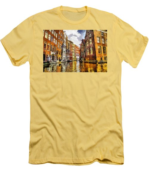 Men's T-Shirt (Slim Fit) featuring the painting Amasterdam Houses In The Water by Georgi Dimitrov