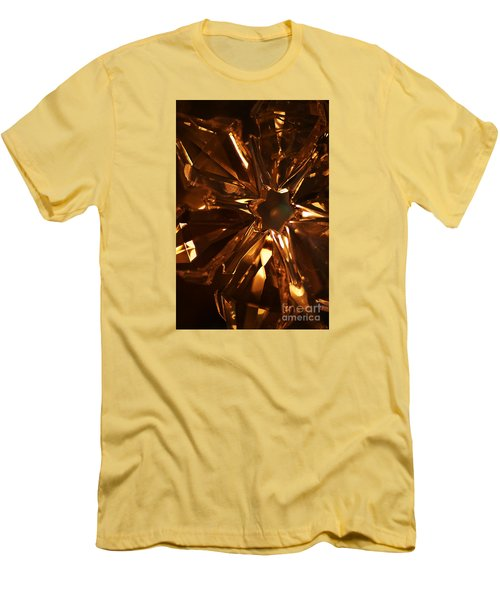 Men's T-Shirt (Slim Fit) featuring the photograph Amber Crystal Snowflake by Linda Shafer