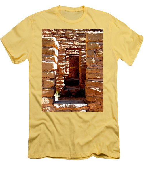Men's T-Shirt (Slim Fit) featuring the photograph Ancient Doorways by Alan Socolik