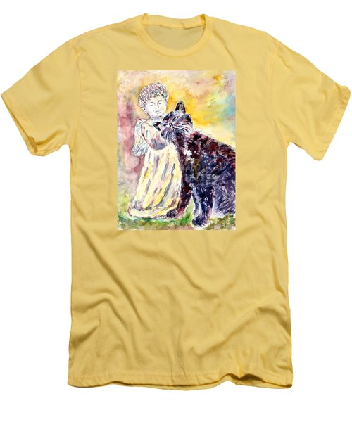Men's T-Shirt (Slim Fit) featuring the painting Angel Or Demon by Alfred Motzer