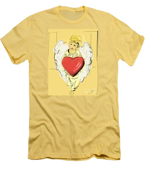 Men's T-Shirt (Slim Fit) featuring the painting Angel Red Heart by Go Van Kampen