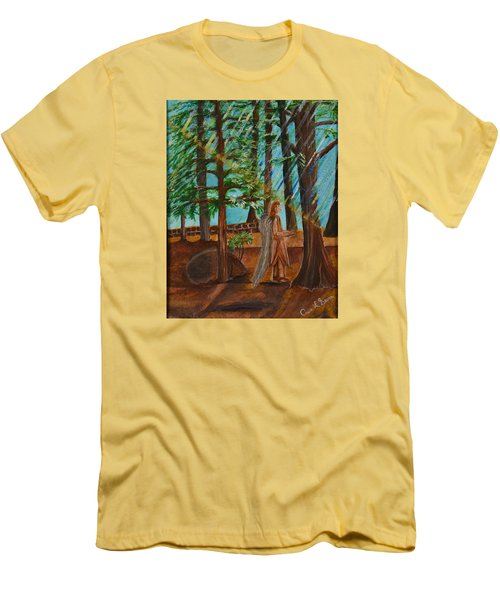 Men's T-Shirt (Slim Fit) featuring the painting Angle In Idyllwild by Cassie Sears