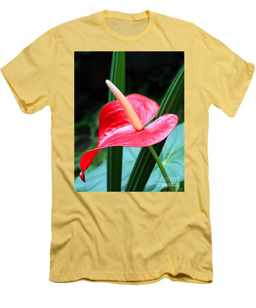 Men's T-Shirt (Slim Fit) featuring the photograph Anthurium by Mariarosa Rockefeller