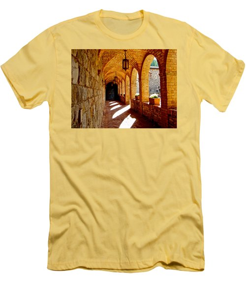 Archway By Courtyard In Castello Di Amorosa In Napa Valley-ca Men's T-Shirt (Slim Fit) by Ruth Hager