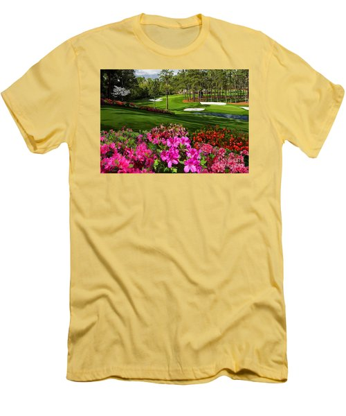 Augusta Azaleas 16th And 6th Men's T-Shirt (Slim Fit) by Tim Gilliland