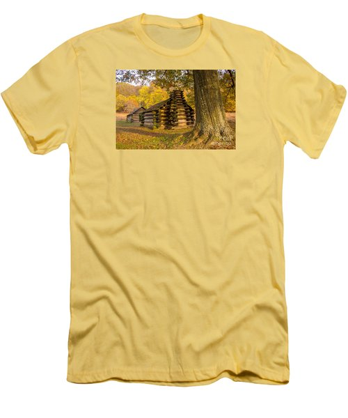 Men's T-Shirt (Slim Fit) featuring the photograph Autumn And The Huts At Valley Forge by Rima Biswas
