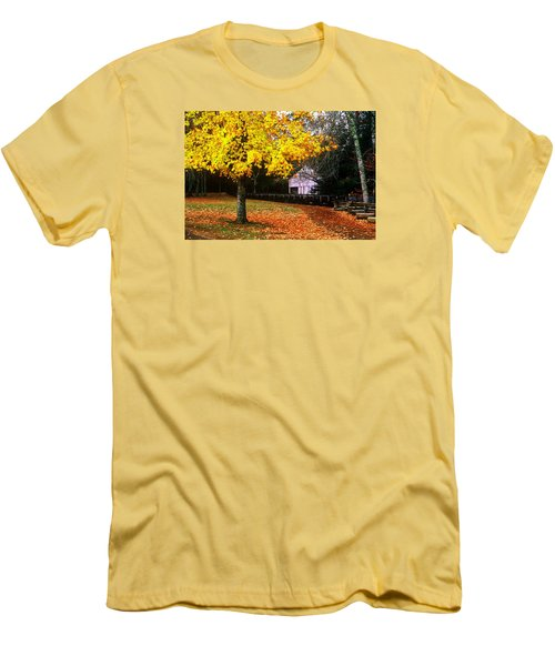 Men's T-Shirt (Slim Fit) featuring the photograph Autumn At Old Mill by Rodney Lee Williams