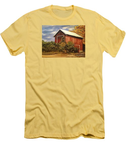 Men's T-Shirt (Slim Fit) featuring the painting Autumn - Barn - Ohio by Jan Dappen