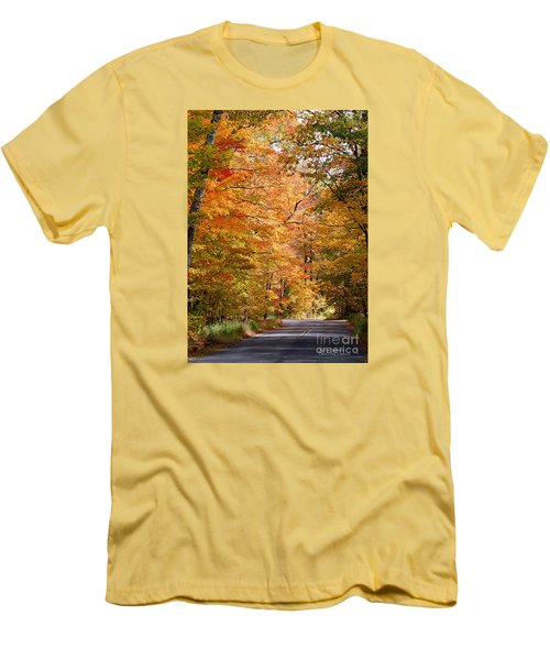 Men's T-Shirt (Athletic Fit) featuring the photograph Autumn Colors - Colorful Fall Leaves Wisconsin IIi by David Perry Lawrence