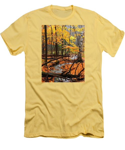 Men's T-Shirt (Slim Fit) featuring the photograph Autumn Creek In The Rain by Rodney Lee Williams