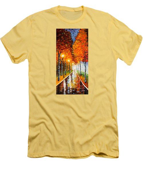 Men's T-Shirt (Athletic Fit) featuring the painting Autumn Park Night Lights Palette Knife by Georgeta  Blanaru