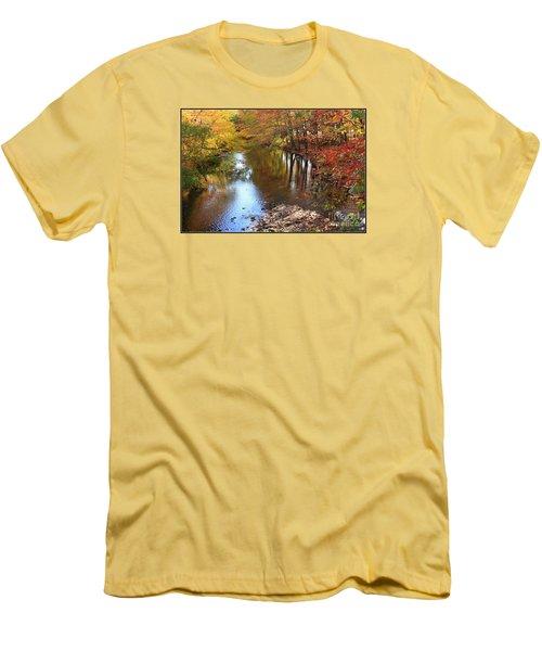 Autumn Reflection Men's T-Shirt (Slim Fit) by Dora Sofia Caputo Photographic Art and Design