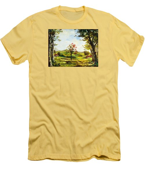 Men's T-Shirt (Slim Fit) featuring the painting Autumn Road by Lee Piper