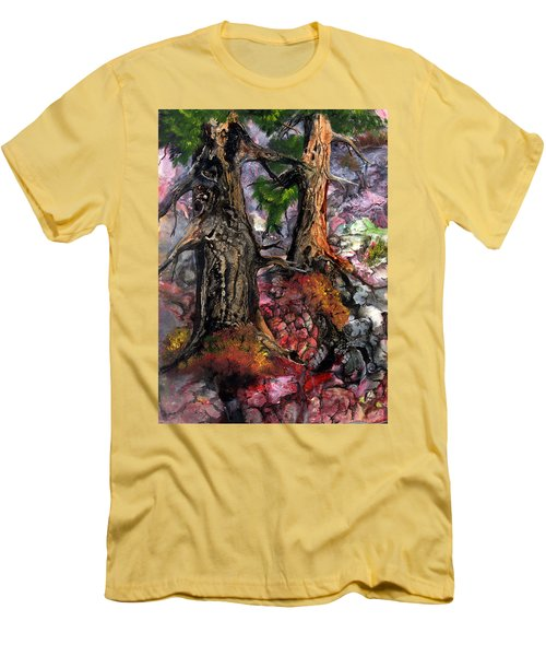 Men's T-Shirt (Slim Fit) featuring the painting Autumn Woods by Sherry Shipley