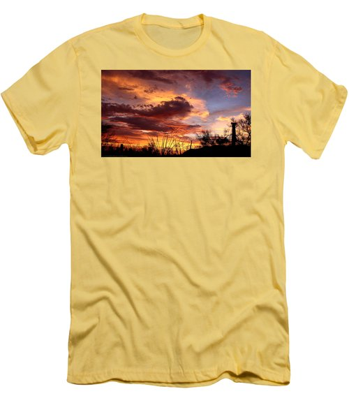 Men's T-Shirt (Slim Fit) featuring the photograph Az Monsoon Sunset by Elaine Malott