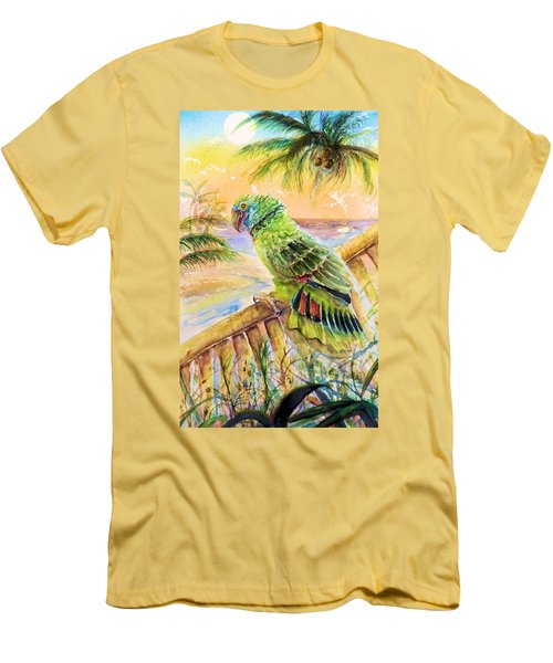 Banana Tree And Tropical Bird Men's T-Shirt (Athletic Fit)