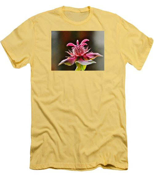 Men's T-Shirt (Slim Fit) featuring the photograph Bee Balm's Beauty by VLee Watson