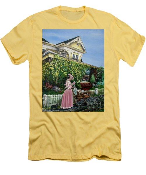 Behind The Garden Gate Men's T-Shirt (Slim Fit) by Linda Simon