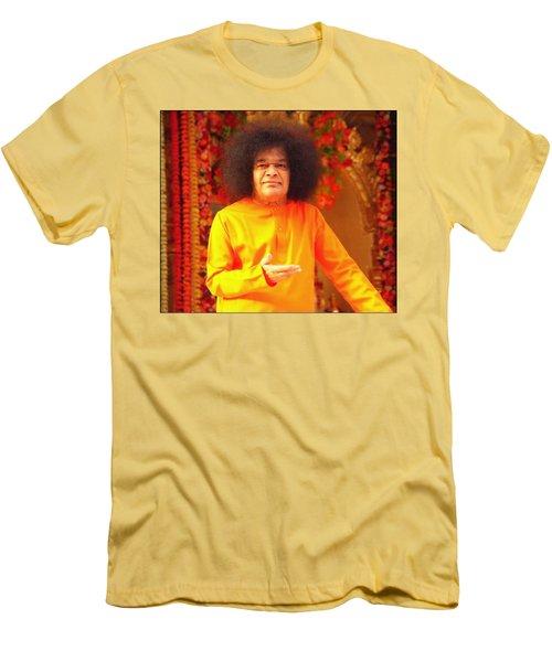 Bhagavan Sri Sathya Sai Baba Men's T-Shirt (Slim Fit) by Carlos Avila