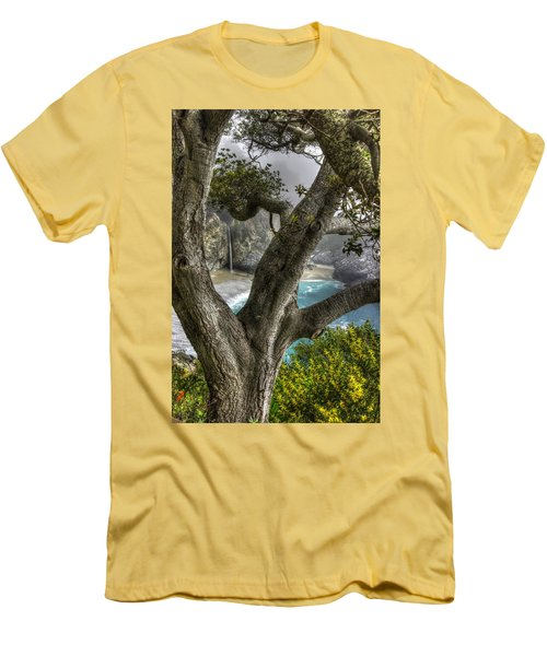 Big Sur Mc Way Falls At Julia Pfeiffer State Park-1 Central California Coast Spring Early Afternoon Men's T-Shirt (Slim Fit) by Michael Mazaika
