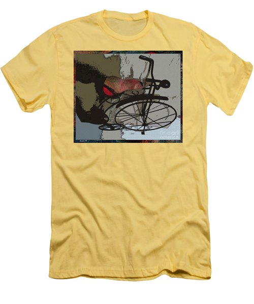Men's T-Shirt (Slim Fit) featuring the painting Bike Seat View by Ecinja