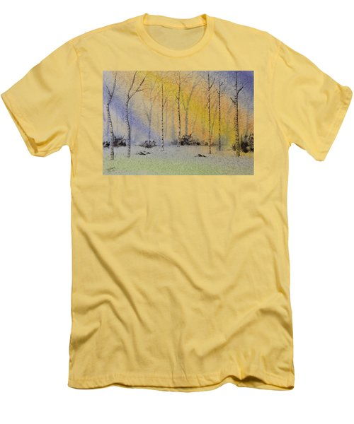 Men's T-Shirt (Slim Fit) featuring the painting Birch In Blue by Richard Faulkner
