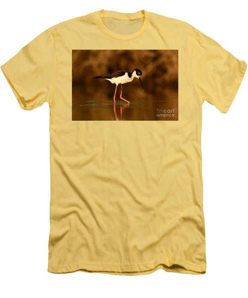 Men's T-Shirt (Slim Fit) featuring the photograph Black-necked Stilt Waterdrops by John F Tsumas