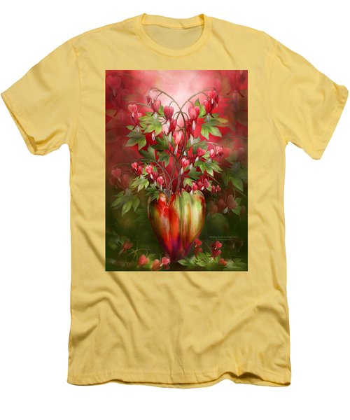 Men's T-Shirt (Athletic Fit) featuring the mixed media Bleeding Hearts In Heart Vase by Carol Cavalaris