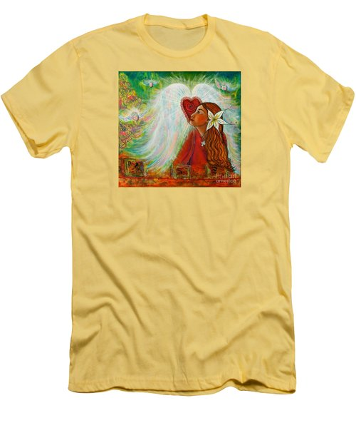 Men's T-Shirt (Slim Fit) featuring the painting Blessed Visit  by Deborha Kerr