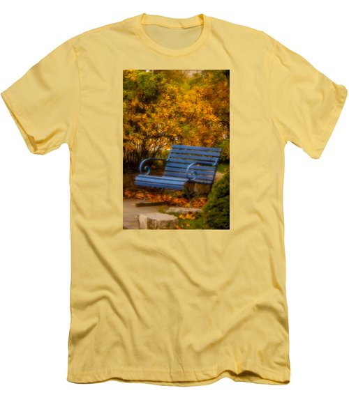 Blue Bench - Autumn - Deer Isle - Maine Men's T-Shirt (Athletic Fit)