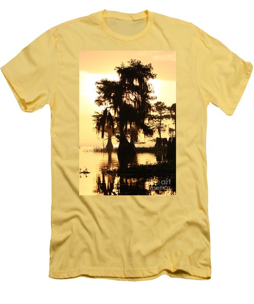 Men's T-Shirt (Slim Fit) featuring the photograph Blue Cypress Yellow Light by Paul Rebmann
