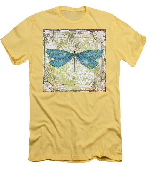 Blue Dragonfly On Vintage Tin Men's T-Shirt (Athletic Fit)