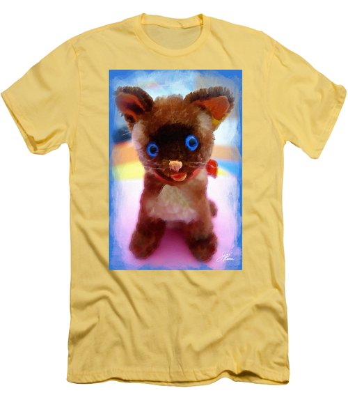 Men's T-Shirt (Athletic Fit) featuring the painting Blue Eyed Kitty by Joan Reese