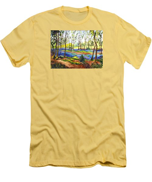 Men's T-Shirt (Slim Fit) featuring the painting Bluebell Woods by Carol Wisniewski