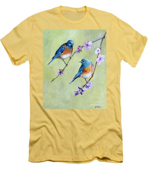 Bluebirds And Blossoms Men's T-Shirt (Slim Fit) by Debbie Hart
