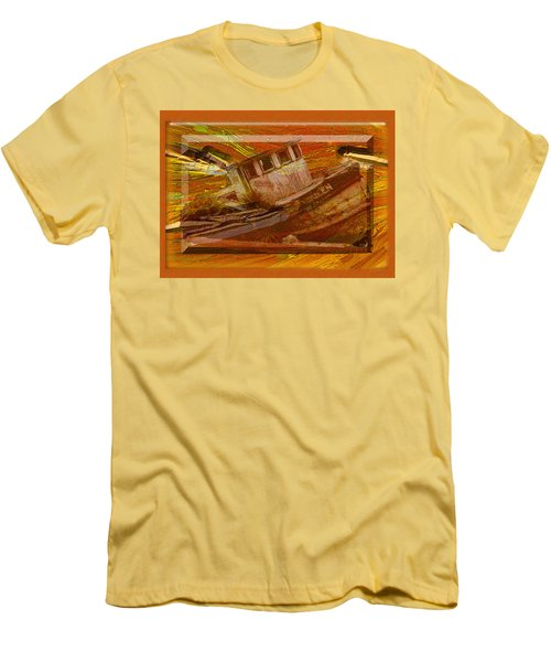 Men's T-Shirt (Slim Fit) featuring the photograph Boat On Board by Larry Bishop