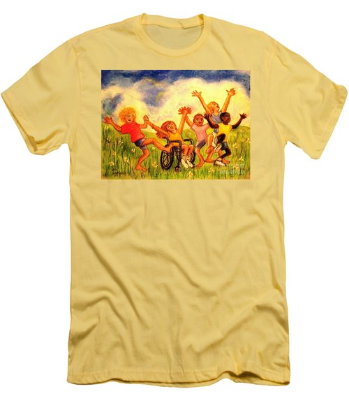 Men's T-Shirt (Slim Fit) featuring the pastel Born To Be Free by Hazel Holland