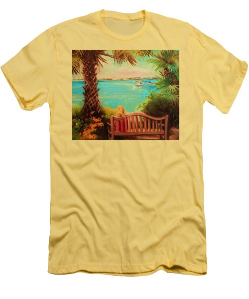 Botanical View Men's T-Shirt (Slim Fit) by Yolanda Rodriguez