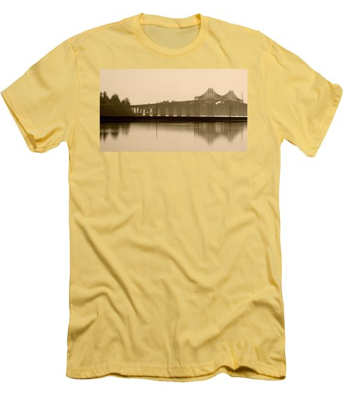 Bridge Reflection In Sepia Men's T-Shirt (Athletic Fit)