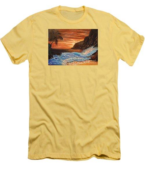 Brilliant Hawaiian Sunset 1 Men's T-Shirt (Slim Fit) by Jenny Lee