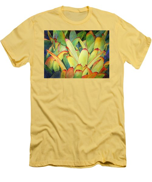Men's T-Shirt (Slim Fit) featuring the painting Bromeliads I by Roger Rockefeller