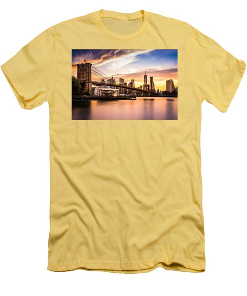 Brooklyn Bridge At Sunset  Men's T-Shirt (Athletic Fit)