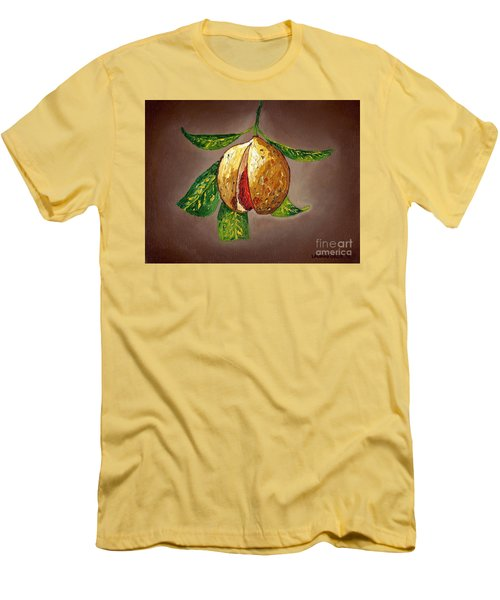 Men's T-Shirt (Slim Fit) featuring the painting Brown Glow Nutmeg by Laura Forde