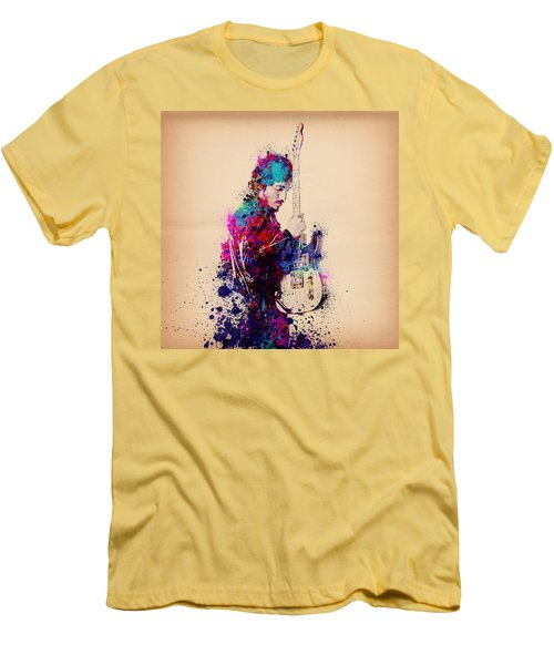 Bruce Springsteen Splats And Guitar Men's T-Shirt (Athletic Fit)