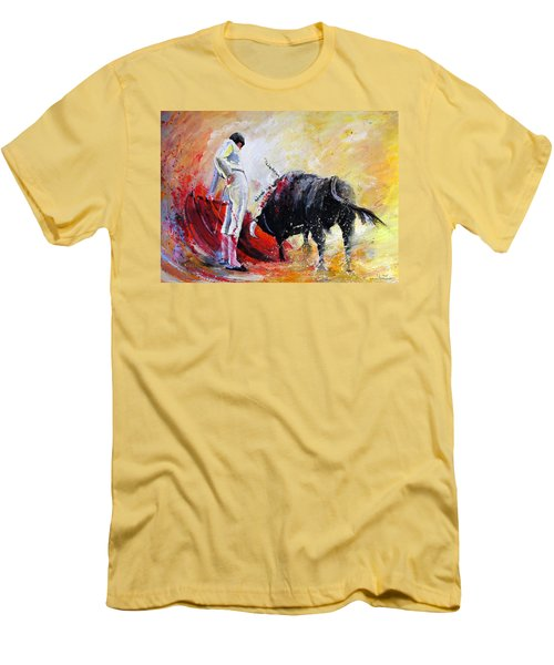 Bull In Yellow Light Men's T-Shirt (Athletic Fit)