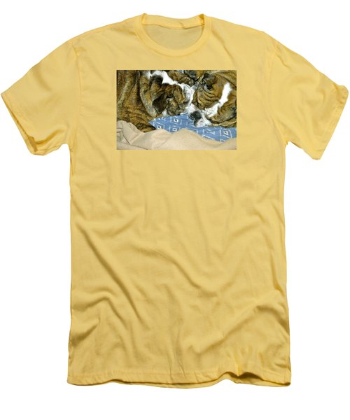 Men's T-Shirt (Slim Fit) featuring the photograph Bulldog Love Forever  by Lehua Pekelo-Stearns